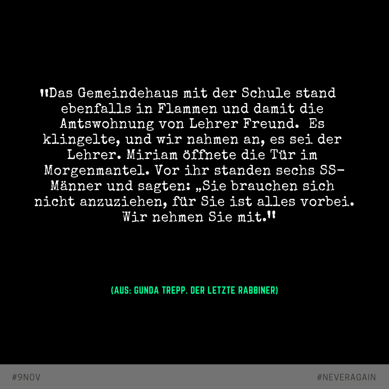 """Zitat aus: """"Der letzte Rabbiner"""" von Gunda Trepp"""